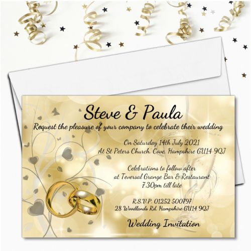 10 Personalised Golden Bokeh Wedding Invitations Day or Evening N67